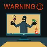 Les pirates informatiques ont attaqué l'ordinateur Images stock