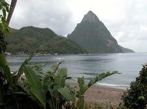 Les Pitons au St Lucia image stock