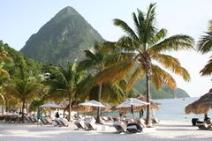 Les Pitons, St Lucia Image stock