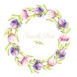 Les pivoines roses et pourpres d'aquarelle et les branches vertes tressent, calibre de carte de voeux Photo stock