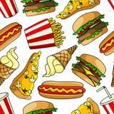 Les pizzas, hamburgers, hot-dogs, boit le modèle sans couture Photographie stock