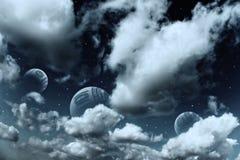 les planètes d'horizontal espacent des étoiles Photographie stock