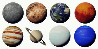 Les planètes du système solaire d'isolement sur le fond blanc illustration stock