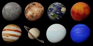 Les planètes du système solaire d'isolement sur le fond noir photos stock