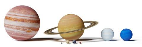 Les planètes, le Mercury, le Vénus, la terre, le Mars, le Jupiter, le Saturn, l'Uranus et le Neptune de système solaire classent  photographie stock