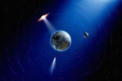 Les planètes mettent à la terre dans l'espace illustration de vecteur