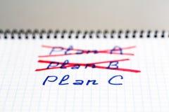 Les plans A et B nous ont échoués ont besoin de plan C Photos stock