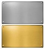 Les plaques de métal d'argent et d'or ont isolé l'illustration 3d Photographie stock libre de droits