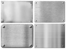 Les plaques de métal ou les panneaux en acier de signe ont placé avec des rivets photo libre de droits