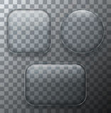 Les plaques de verre transparentes modernes de vecteur ont placé sur le fond témoin Photos stock