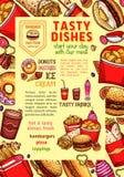 Les plats d'aliments de préparation rapide et les repas de prêt-à-manger dirigent l'affiche Photographie stock