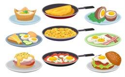 Les plats des oeufs ont placé, la nourriture de petit déjeuner nutritive fraîche, élément de conception pour le menu, café, illus Illustration de Vecteur