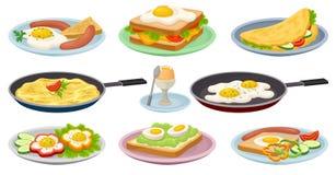Les plats savoureux avec des oeufs ont placé, la nourriture de petit déjeuner nutritive fraîche, élément de conception pour le me Illustration Stock