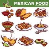 Les plats traditionnels de cuisine mexicaine de nourriture dirigent des icônes pour le menu de restaurant illustration libre de droits
