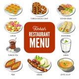Les plats traditionnels de nourriture turque de cuisine dirigent des icônes pour le menu de restaurant de Turkley illustration de vecteur