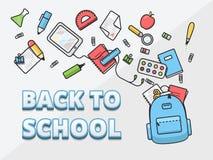 Les pleines matières d'enseignement se baladent, des fournitures scolaires volent hors du sac à dos, de nouveau à l'illustration  Images libres de droits