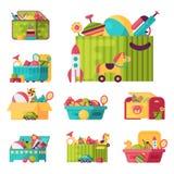 Les pleins jouets d'enfant dans des boîtes pour des enfants jouent l'illustration de vecteur de récipient de babyroom d'enfance Images stock