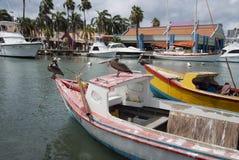 Les pélicans sur un petit bateau de pêche chez Oranjestad hébergent, Aruba Images stock
