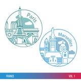 Les plus grandes villes des Frances Paris et Marseille Une ligne style à la mode Conception plate moderne Composition ronde Photos stock