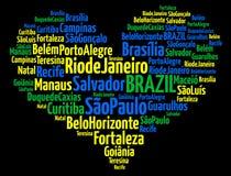 Les plus grandes villes ou les villes des dessins d'information-texte du Brésil illustration stock