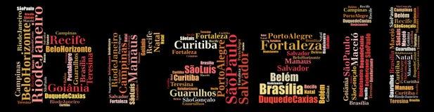 Les plus grandes villes ou les villes des graphiques d'information-texte du Brésil illustration stock