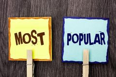 Les plus populaires des textes d'écriture de Word Concept d'affaires pour le produit de best-seller supérieur d'estimation ou l'a Image stock