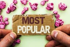 Les plus populaires des textes d'écriture de Word Concept d'affaires pour le produit de best-seller supérieur d'estimation ou l'a Photo stock