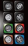 Les pneus et les divers RIM dans le Web carré se boutonne Image stock