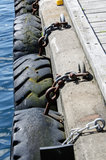 Les pneus ont enchaîné le pilier Images stock