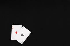 Les poches Aces avec le noir du fond de feutre pour textcopy Image libre de droits