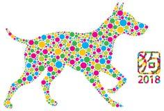 Les points de polka chinois de chien de nouvelle année dirigent l'illustration Photos libres de droits