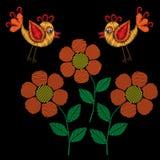 Les points petite ligne d'imitation d'oiseau de broderie et de fleur conçoivent Images stock
