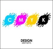 Les points tramés de l'impression CMYK conçoivent les éléments abstraits illustration de vecteur