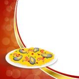 Les pois abstraits de riz de Paella de nourriture de fond poivrent l'illustration rouge de cadre d'or de vert de moule de crevett Photo stock