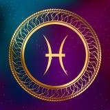Les poissons abstraits de signe de zodiaque d'horoscope d'or de concept d'astrologie de fond entourent l'illustration de cadre Image stock