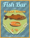 Les poissons barrent la rétro affiche illustration stock