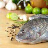 Les poissons crus ont appelé Tilapia Image libre de droits