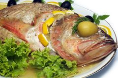 Les poissons cuits au four ont isolé Photo libre de droits