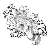 Les poissons de Koi avec la fleur et le tatouage japonais de nuage conçoivent le vecteur Photo stock