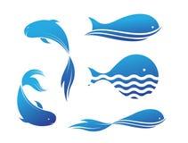 Les poissons dirigent pour la pêche et le logo de restaurant Photo libre de droits
