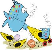 Les poissons et la chéri de mère pêchent le dessin animé Photographie stock