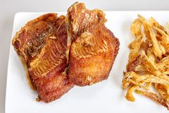 Les poissons frits et blancs de poissons de Tilapia d'amorce ont fait frire - fermez-vous, vue supérieure photos stock