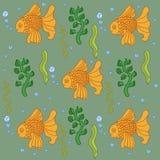 Les poissons modèlent dans le style de griffonnage Image libre de droits