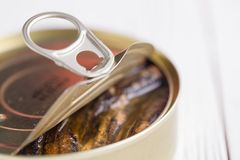 Les poissons peuvent avec de petits poissons en huile Photo stock