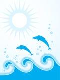 Les poissons sautant par-dessus les ondes Images stock