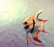 Les poissons scalaires dans l'eau 3d rendent l'illustration de surface plane Photographie stock