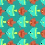 Les poissons tropicaux exotiques emballent l'illustration plate de vecteur de modèle d'océan d'espèces de nature aquatique sous-m Photos libres de droits