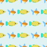 Les poissons tropicaux exotiques emballent l'illustration plate de vecteur de modèle d'océan d'espèces de nature aquatique sous-m Photographie stock libre de droits