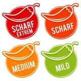 Les poivrons de piment mesurent doux, moyen, chaud et l'enfer - traduction allemande : ½ rfe Skala de ¿ de Chili Schï doux, moyen Images stock