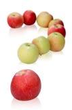Les pommes aiment un point d'interrogation Photos libres de droits